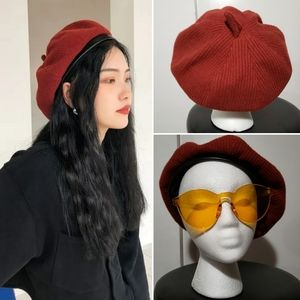 Stylish Red Cotton Knit Beret With Trim